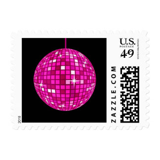 Bola de discoteca rosada sellos postales