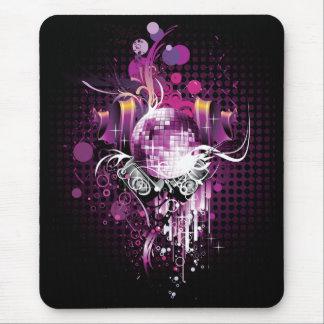 Bola de discoteca y altavoces frescos de la música alfombrillas de raton