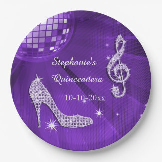 Bola de discoteca y talones púrpuras Quinceañera Plato De Papel 22,86 Cm