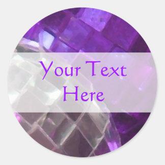 Bola de espejo púrpura de las chucherías pegatina