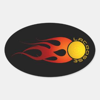 Bola de fuego calcomanías ovaladas personalizadas
