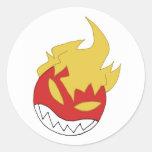bola de fuego etiqueta redonda
