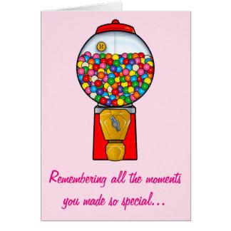 Bola de goma dulce feliz de las memorias del día tarjeta de felicitación