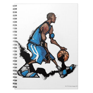 Bola de goteo del jugador de básquet cuadernos
