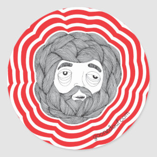 Bola de la barba pegatina redonda