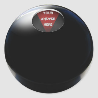 Bola de la magia 8 etiqueta redonda