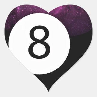 Bola de la magia 8 pegatina en forma de corazón