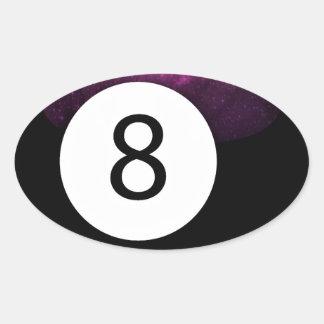 Bola de la magia 8 pegatina ovalada
