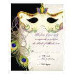 Bola de la máscara de la mascarada del pavo real - invitacion personal