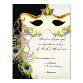 """Bola de la máscara de la mascarada del pavo real - invitación 4.25"""" x 5.5"""""""