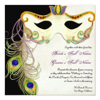 """Bola de la máscara de la mascarada del pavo real - invitación 5.25"""" x 5.25"""""""
