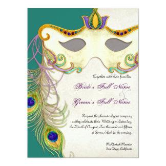 """Bola de la máscara de la mascarada del pavo real - invitación 6.5"""" x 8.75"""""""