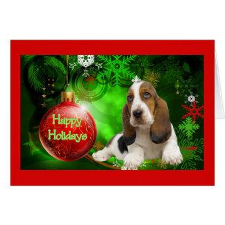 Bola de la tarjeta de Navidad de Basset Hound buen