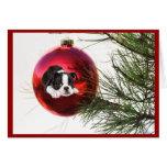 Bola de la tarjeta de Navidad de Boston Terrier