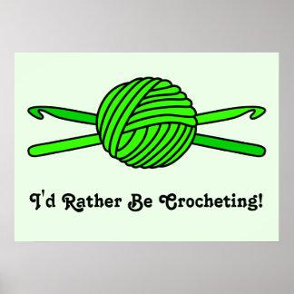Bola de la verde lima de los ganchos del hilado y  póster