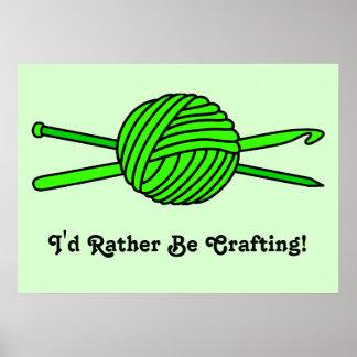 Bola de la verde lima del hilado (punto y ganchill póster