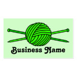 Bola de la verde lima del hilado y de las agujas tarjetas de negocios