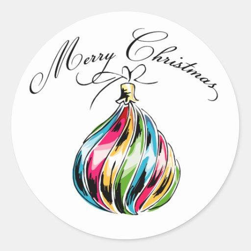 Bola de las Felices Navidad Pegatina Redonda