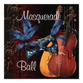 """Bola de mascarada azul de los instrumentos invitación 5.25"""" x 5.25"""""""