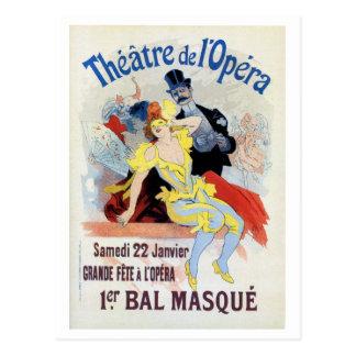 Bola de mascarada del vintage en la ópera Chéret Postal
