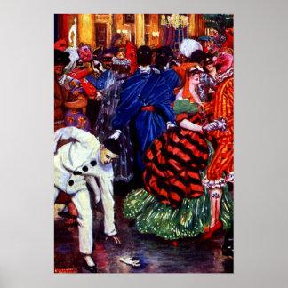 Bola de mascarada del vintage póster