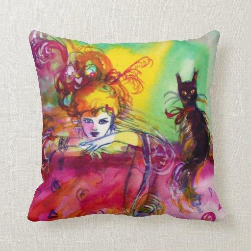 Bola de mascarada veneciana NEGRA del CAT de Cojines