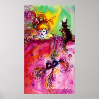 Bola de mascarada veneciana NEGRA del CAT de Póster