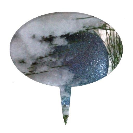 Bola de nieve azul decoración de tarta