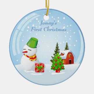 Bola de nieve linda del primer navidad del bebé adorno navideño redondo de cerámica