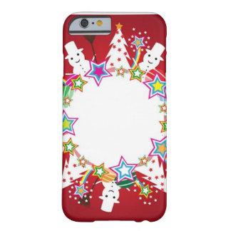 Bola de nieve, muñecos de nieve, y árboles funda de iPhone 6 barely there