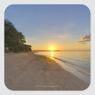 Bola de oro de Sun que fija sobre la isla tropical Pegatina Cuadradas Personalizadas
