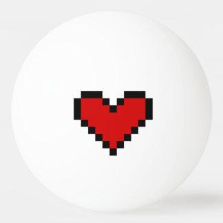 Bola de ping-pong roja del corazón del pixel para pelota de tenis de mesa