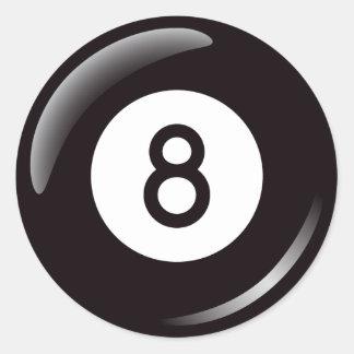 Bola de piscina del número ocho etiqueta