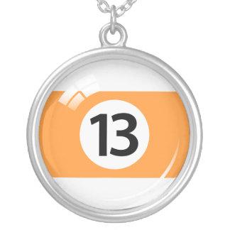 Bola de piscina del número trece/collar de los bil colgante redondo