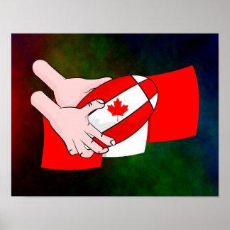 Bola de rugbi canadiense de la hoja de arce de la póster