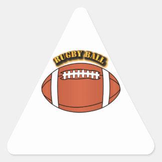 Bola de rugbi con el texto pegatina triangular