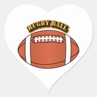 Bola de rugbi con el texto pegatina en forma de corazón