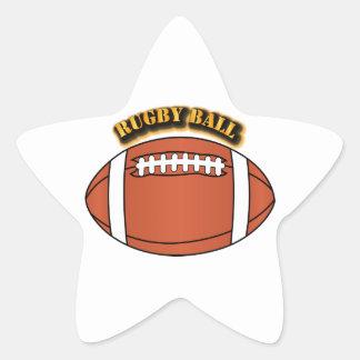 Bola de rugbi con el texto pegatina en forma de estrella