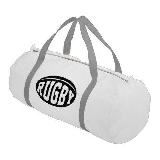 Bola de rugbi negra con las letras blancas bolsa de deporte