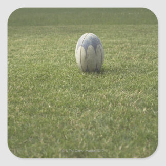 Bola de rugbi pegatinas cuadradas personalizadas