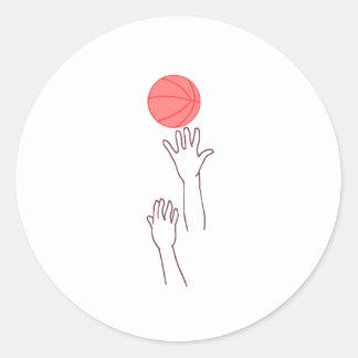 Bola de salto del baloncesto pegatinas redondas