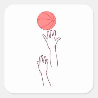 Bola de salto del baloncesto calcomania cuadradas