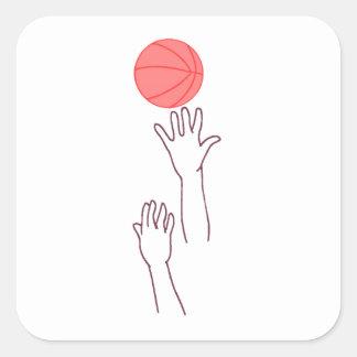 Bola de salto del baloncesto pegatina cuadradas personalizada