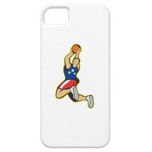 Bola de salto del tiroteo del jugador de básquet iPhone 5 coberturas