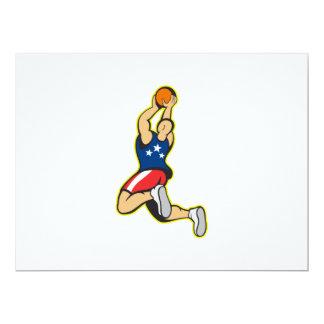 Bola de salto del tiroteo del jugador de básquet invitación 16,5 x 22,2 cm