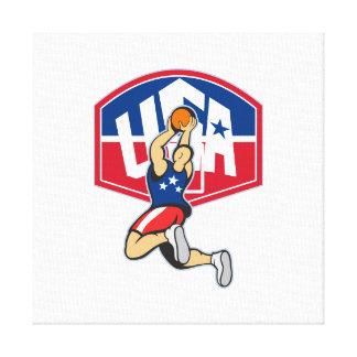 Bola de salto del tiroteo del jugador de básquet impresiones en lona estiradas