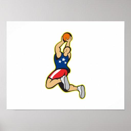 Bola de salto del tiroteo del jugador de básquet impresiones