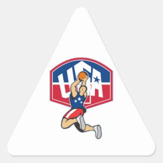 Bola de salto del tiroteo del jugador de básquet calcomanía de triangulo personalizadas