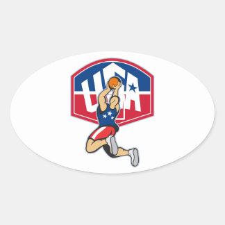 Bola de salto del tiroteo del jugador de básquet pegatinas ovaladas