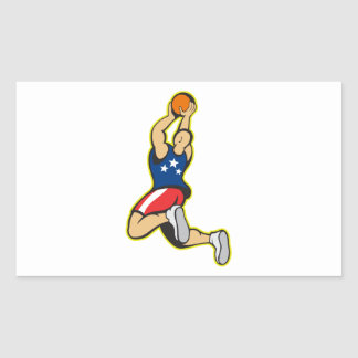Bola de salto del tiroteo del jugador de básquet pegatinas
